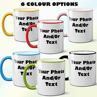 Personalised Coloured Rim & Handle Mug Photo Text Picture Customised Freshers