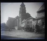 Francia Village Eglise Foto Amateur Stereo L13n9 Placca Da Lente Vintage
