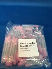 "100 Blunt Dispensing Needles Syringe Blunt Tip Needle 18 Ga 1 1/2"" Luer Lock1.5"""