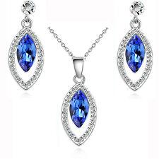 blu scuro cristallo festa serale Set Gioielli Orecchini a lobo & COLLANA S820