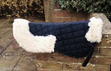 New Quilted Half Saddle Pad Numnah Faux Sheepskin Fleece,BLACK length 61 cms
