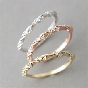 925 Silver,Rose gold Plated Wedding for Women White Sapphire Ring US Size 6-10