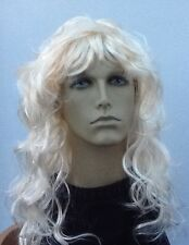 Men's Long Curly Blonde Wig. Fairy Tail Prince. Hero, Charming, Super UK Seller