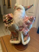 """16"""" Porcelain Santa Claus Figurine Doll Toy Gift Bag Pink Floral with Wool Trim"""