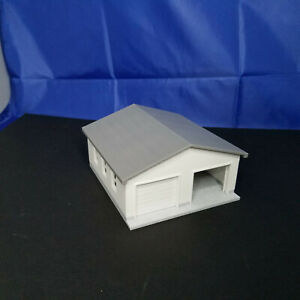 1:64 S Scale - Two Car Garage w/ Movable Door and Removable Roof - 3D Printed
