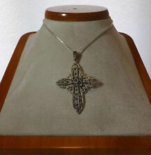 """Sterling Silver Marcasite Encrusted Cross 20"""" SS Box Chain Jewelry Necklace"""