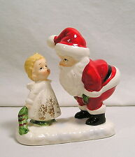 Vintage Lefton Christmas Figure, Bone China Girl Angel with Santa Figurine