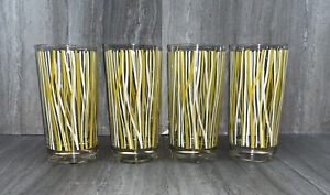 Georges Briard Glasses MCM Tumblers Highball Striped Yellow White Lot 4 Cocktail
