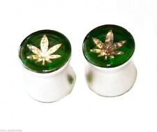 PAIR-Hologram Weed Pot Leaf Acrylic Double Flare Ear Plugs 10mm/00 Gauge Body Je