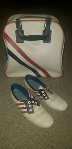 Vintage Mid Century VOIT Bowling Bag & Matching Shoes Red White Blue