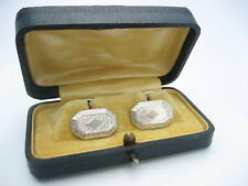 Antique Art Deco era Solid White Gold Emboss Guilloche Engraved Cufflinks Cased