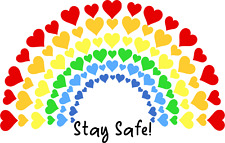 STAY SAFE! Clear Rainbow DECAL for windows, Car Sticker,  free uk P&P