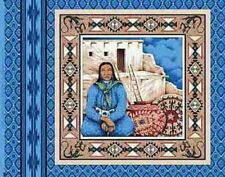 Indian Woman and Adobe on Blue Panel Fabric Pillow Panel
