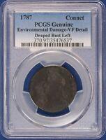 1787 Connecticut Copper. Draped Bust Left PCGS VF Details. ET1538A/BNQ