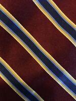 Men's Merona 100% Silk Neck Tie Maroon Blue Stripes
