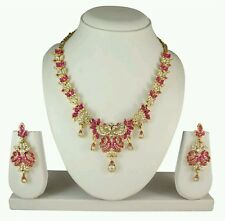Indian Bollywood Gold Plated Multi Color Diamond Necklace Earring Jewellery Set