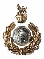 New OFFICIAL Royal Marines Officers 2 Part Cap / Beret Badge Anodised Ceremonial