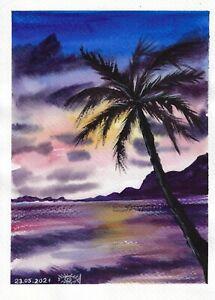 original painting A4 135RK art samovar watercolor modern landscape sunset