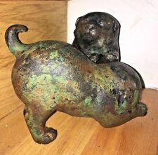 Meiji OKIMONO Japanese Akita Inu Playing Fat Chubby Puppies Dogs pair bronze