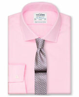 T.M.Lewin Mens Fitted Pink Oxford Button Cuff Shirt