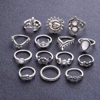 14 Pcs/set Boho Moon&Sun Knuckle Opal Rings Leaf Flower Midi Rings Jewelry Set