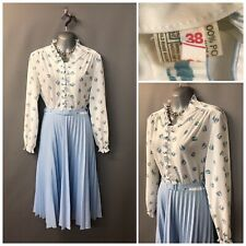 White Mix Pleated Classic Vintage Dress UK 10 EUR 38