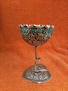 Antigüedad Plata de Ley Lily Almohadilla Flor Copa
