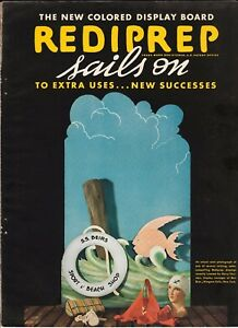 Vtg 1935 Art Deco Sign Display Brochure Upson RediPrep Fibre Board Color Chip
