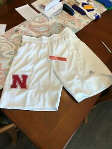 ADIDAS Authentic NCAA Nebraska Cornhuskers Game Shorts Sz XL +2 On Court Ice Out