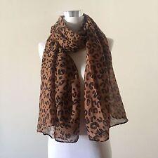 Coffee Animal Leopard Print 100% Viscose Cotton Soft Long Scarf  VL03