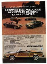 1984 CHRYSLER LeBaron Vintage Original SMALL Print AD Woodie car photo French CA