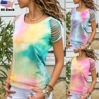 Womens Tie Dye Hollow Out Short Sleeve T-Shirt Ladies Summer Casual Loose Tops