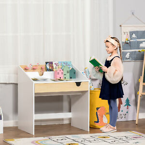 Kids Wooden Writing Study Desk with Drawer Book Storage Layer White and Natural