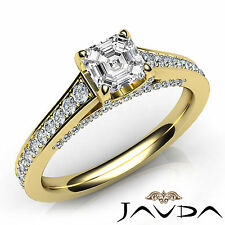 Asscher Diamond Engagement Pave Set Ring GIA Color F VVS2 18k Yellow Gold 1.46Ct
