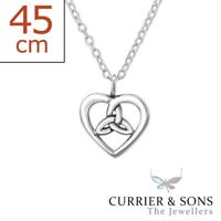 925 Sterling Silver Celtic Heart Pendant Necklace (45cm / 18 inch)