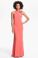 ABS Allen Schwartz~Coral Pink Low Cutout Back One Shoulder Train Gown 6 NEW $490