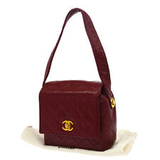 Authentic CHANEL Quilted CC Logos Hand Bag Red Leather Vintage Italy V11636
