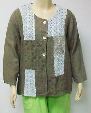 SARAH SANTOS,THEIR SIZE LARGE TAUPE LINEN JACKET WITH ADORNMENTS,MADE IN ITALY.