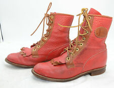 Justin USA Womens Sz 6.5 Red Pebble Leather Packer Lacer Granny Western Boots