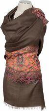 Pashmina Kani Schal scarf stole écharpe 100% Wolle wool Brau Brown Paisley edel
