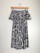 T-BAGS Los Angeles Off Shoulder Elastic Waist Printed Dress White Black S $228