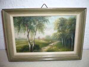 Kleines Bild, Ölgemälde, Landschaft, signiert