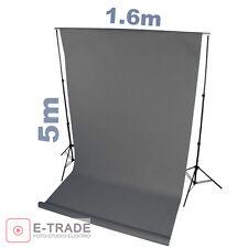 Profi dunkel GRAU -- Hintergrund 1.6m x 5m Lang ! mit Pappröhre FOTOHINTERGRUND