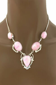 Handmade Silver Plated Classic Everyday Necklace Rose Pink Agate Gemstone Casual