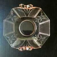 Fostoria Pink Pressed Glass Vintage dish Bow Handles Flower Design Art Deco