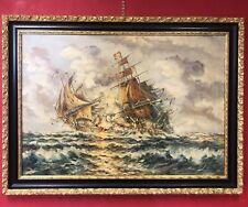 quadro antico dipinto a mano ad olio su tela battaglia grande con cornice legno,