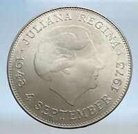 1973 Netherlands Kingdom Queen JULIANA Authentic Silver 10 Gulden Coin i74082