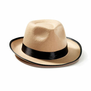 Fedora Beige Hat Mens 1920s Gangster Style Fancy Dress Hat Adults New