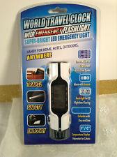 World Travel Clock With LED Display & Emergency Flash Light *NEW
