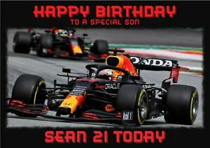 Personalised Birthday card F1 Max Verstappen sports car any name/relation/age